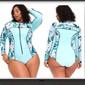 2X 3X 4X New Torrid One Piece Rash Guard Swimsuit
